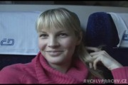 teen blond girl on the train to fuck