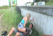 mia sucking next to the motorway