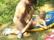 Skinny blonde teen fucked outdoor