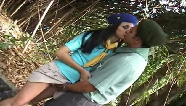 Cute Latina schoolgirl fucking with a stranger in forest