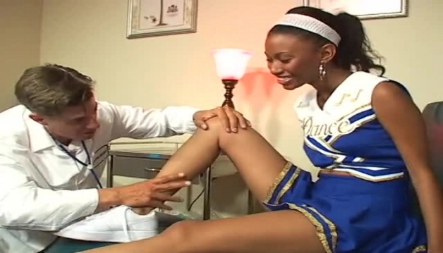 Cute Ebony cheerleader teen fucking with her doctor the reception