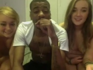 two skinny amateur teen girls are sharing one blac