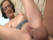 Small skinny girl Larissa in glasses and socks is fucked wit