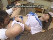 Asian cute schoolgirl in uniform at classroom sex - free18